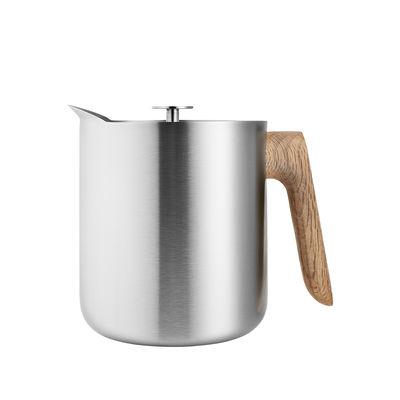 Tableware - Tea & Coffee Accessories - Nordic kitchen Teapot - / Coffee maker - 1 L by Eva Solo - Stainless steel / Oak - Oak, Stainless steel
