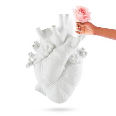 Decoration - Vases - Love in Bloom Vase - Giant / Human heart - Resin / H 60 cm by Seletti - White - Resin