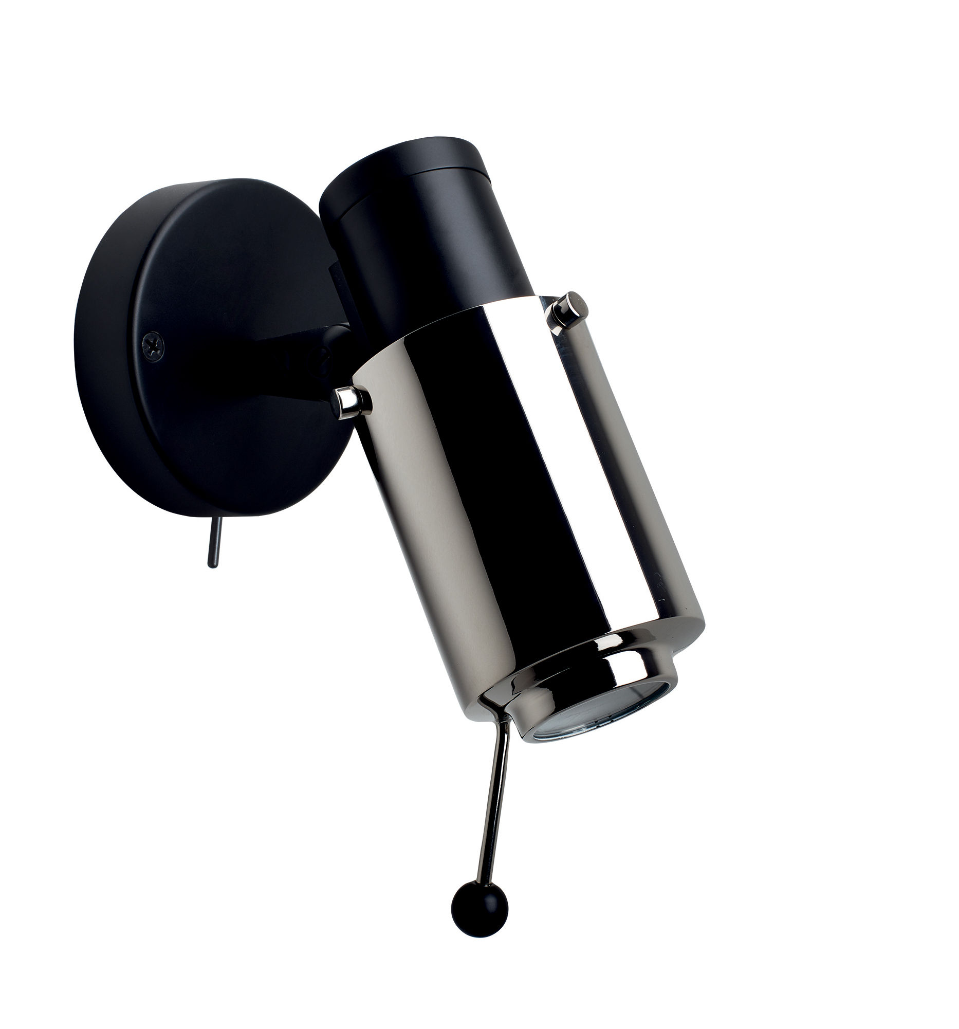 Lighting - Wall Lights - Biny Spot LED Wall light - / 1955 reissue - With switch by DCW éditions - Black / Chrome tube - Aluminium, Steel