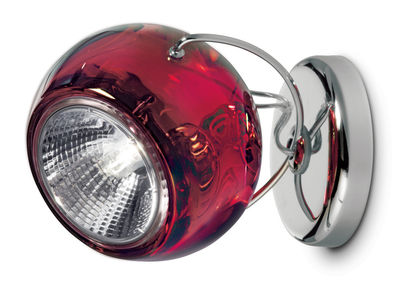 Leuchten - Wandleuchten - Beluga Wandleuchte Wand- und Deckenlampe - Glas-Ausführung - Fabbian - Rot-transparent - Glas, verchromtes Metall