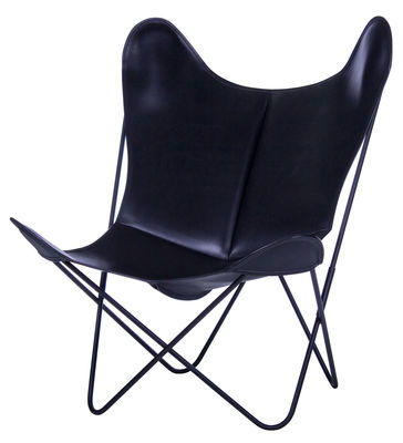 Furniture - Armchairs - AA Butterfly Armchair - Leather / Black structure by AA-New Design - Black frame / Black leather - Lacquered steel, Leather