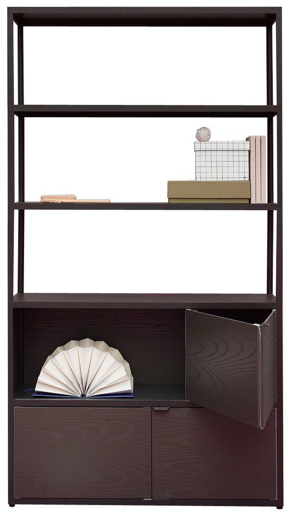 Möbel - Regale und Bücherregale - New Order Bücherregal / L 100 x H 180 cm - Hay - Graphitschwarz / Schrankfächer aus schwarz gefärbter Eiche - bemaltes Aluminium, getönte Eiche
