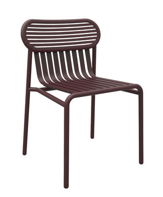 Furniture - Chairs - Week-end Chair - Aluminium by Petite Friture - Burgundy - Powder coated epoxy aluminium