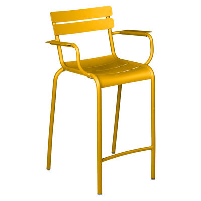 Chaise de bar Luxembourg Bridge / H 69,5 cm - Accoudoirs - Fermob jaune en métal