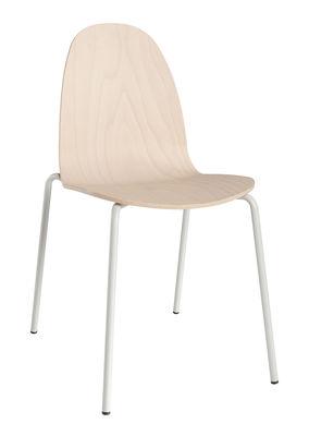 Mobilier - Chaises, fauteuils de salle à manger - Chaise empilable Bob / Bois & Métal - Ondarreta - Nude / Piètement gris très clair - Acier, Hêtre verni