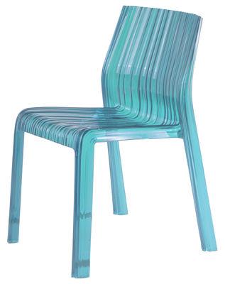 Chaise empilable Frilly / Polycarbonate - Kartell turquoise transparent en matière plastique