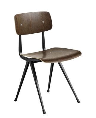 Mobilier - Chaises, fauteuils de salle à manger - Chaise Result / Réédition 1958 - Hay - Chêne fumé / Pieds noirs - Acier laqué, Contreplaqué de chêne fumé