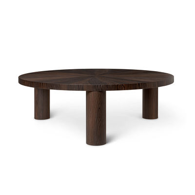 Furniture - Coffee Tables - Post Large Coffee table - / Ø 100 x H 33 cm -  Hand-made marquetry by Ferm Living - Star pattern / Smoked oak - MDF, Smoked oak veneer