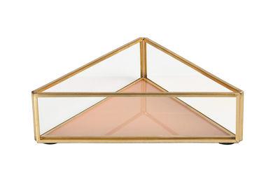 Interni - Scatole déco - Coppetta - / 16 x 14 cm - Vetro & Metallo di & klevering - Triangle / Pêche - Métal finition laiton, Vetro