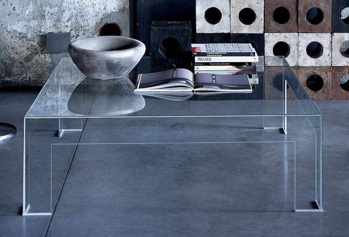 Möbel - Couchtische - Atlantis Couchtisch - Glas Italia - Mit quadratischer Tischplatte: 80 x 80 cm - Glas