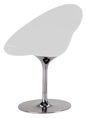 Möbel - Stühle  - Ero/S/ Drehsessel Opak - mit Mittelfuß - Kartell - Opakweiß - Polykarbonat, verchromter Stahl