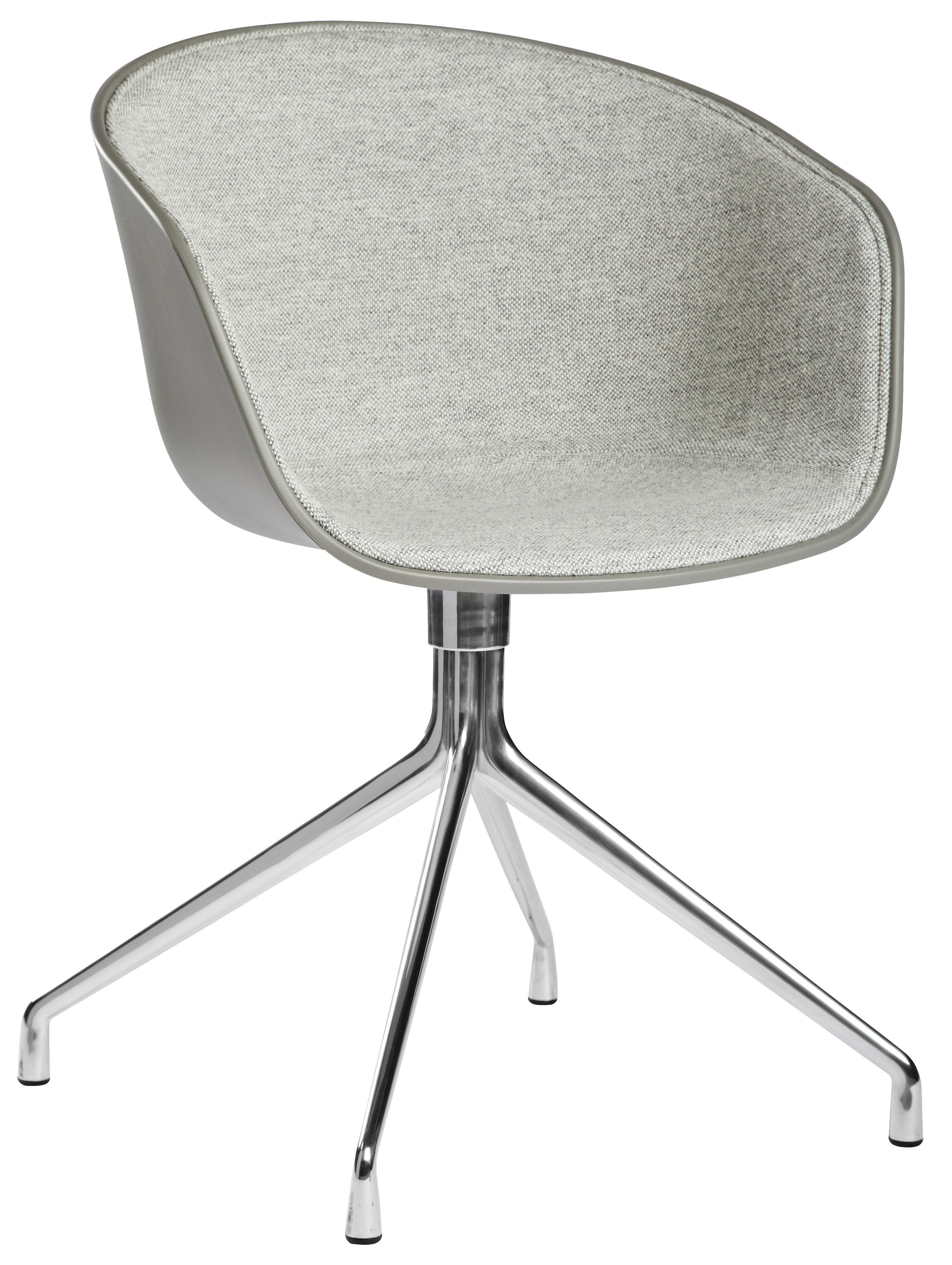 Mobilier - Fauteuils - Fauteuil pivotant About a chair / Rembourré  - Tissu face interne - Hay - Extérieur : Gris / Intérieur : tissu Gris Clair - Aluminium poli, Polypropylène, Tissu