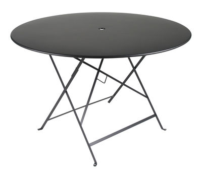 Outdoor - Garden Tables - Bistro Foldable table - Ø 117 cm - 6/8 persons by Fermob - Licorice - Painted steel