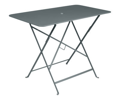 Outdoor - Garden Tables - Bistro Foldable table - 97 x 57 cm - 4 people - Umbrella Hole by Fermob - Storm Grey - Painted steel