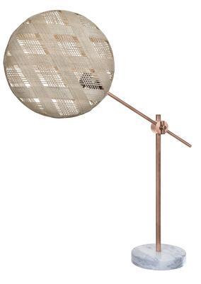 Illuminazione - Lampade da tavolo - Lampada da tavolo Chanpen Diamant - Ø 36 cm / Articolato - Motivi losanghe di Forestier - Beige / Rame - Marmo, Metallo, Tessuto in abaca