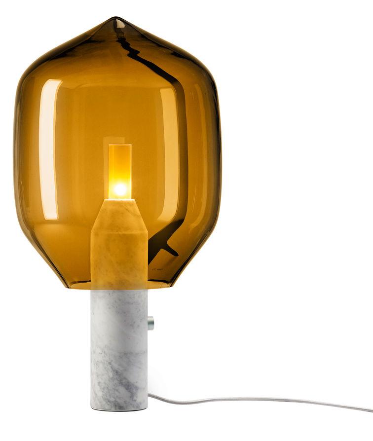 Luminaire - Lampes de table - Lampe de table Lighthouse / Verre & marbre - H 69 cm - Established & Sons - Ambre / Pied : marbre blanc - Aluminium anodisé, Marbre de Carrare, Verre de Murano soufflé bouche