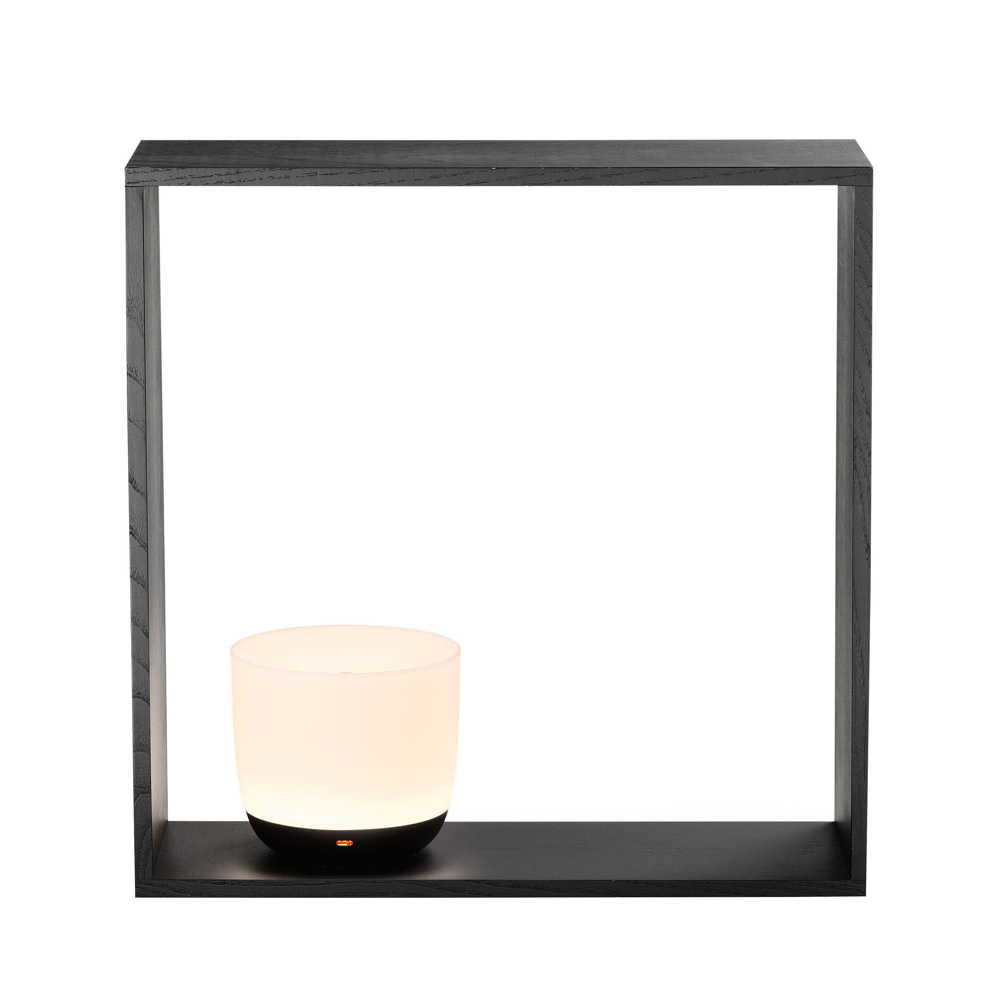 Luminaire - Lampes de table - Lampe Gaku / Diffuseur sans fil charge induction - Flos - Cadre noir / Lampe blanche & noir - Frêne massif teinté, Polycarbonate