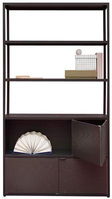 Arredamento - Scaffali e librerie - Libreria New Order - / L 100 x H 180 cm di Hay - Carbone / Cassetto rovere tinto nero - alluminio verniciato, Rovere tinto