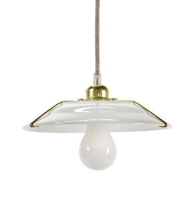 Lighting - Pendant Lighting - Switch Pendant - / Sandstone & brass - Ø 23 cm by Serax - White & brass - Brass, Sandstone