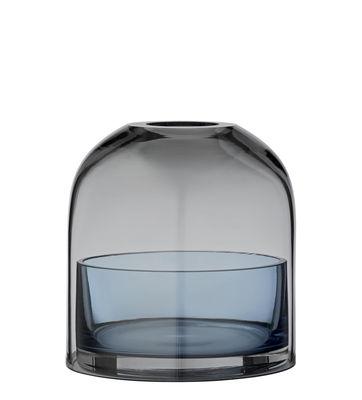 Déco - Bougeoirs, photophores - Photophore Tota Small / Verre - H 10 cm - AYTM - Gris fumé / Coupelle bleue - Verre