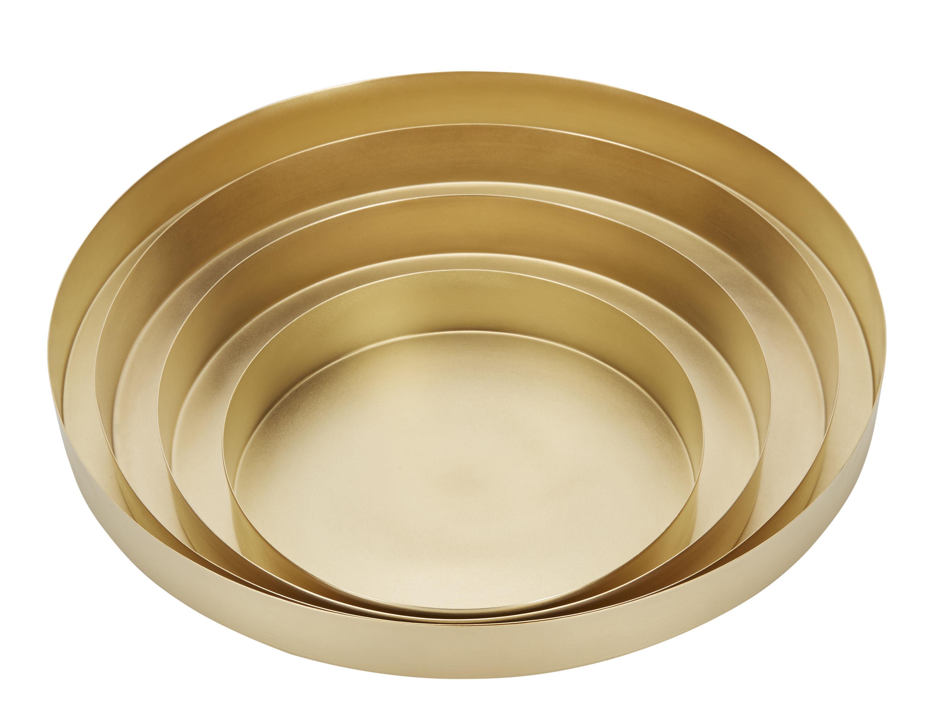 Arts de la table - Plateaux - Plateau Orbit Large / Set 4 plateaux Ø 30 cm - Tom Dixon - Laiton - Laiton