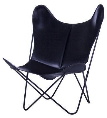 Arredamento - Poltrone design  - Poltrona AA Butterfly - in pelle / Struttura nera di AA-New Design - Struttura nera/ Pelle nera - Acciaio laccato, Pelle