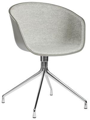 Arredamento - Poltrone design  - Poltrona girevole About a chair - / 4 gambe - girevole - Tessuto lato interno basso di Hay - Esterno: grigio / interno: tessuto grigio chiaro - Alluminio lucido, Polipropilene, Tessuto