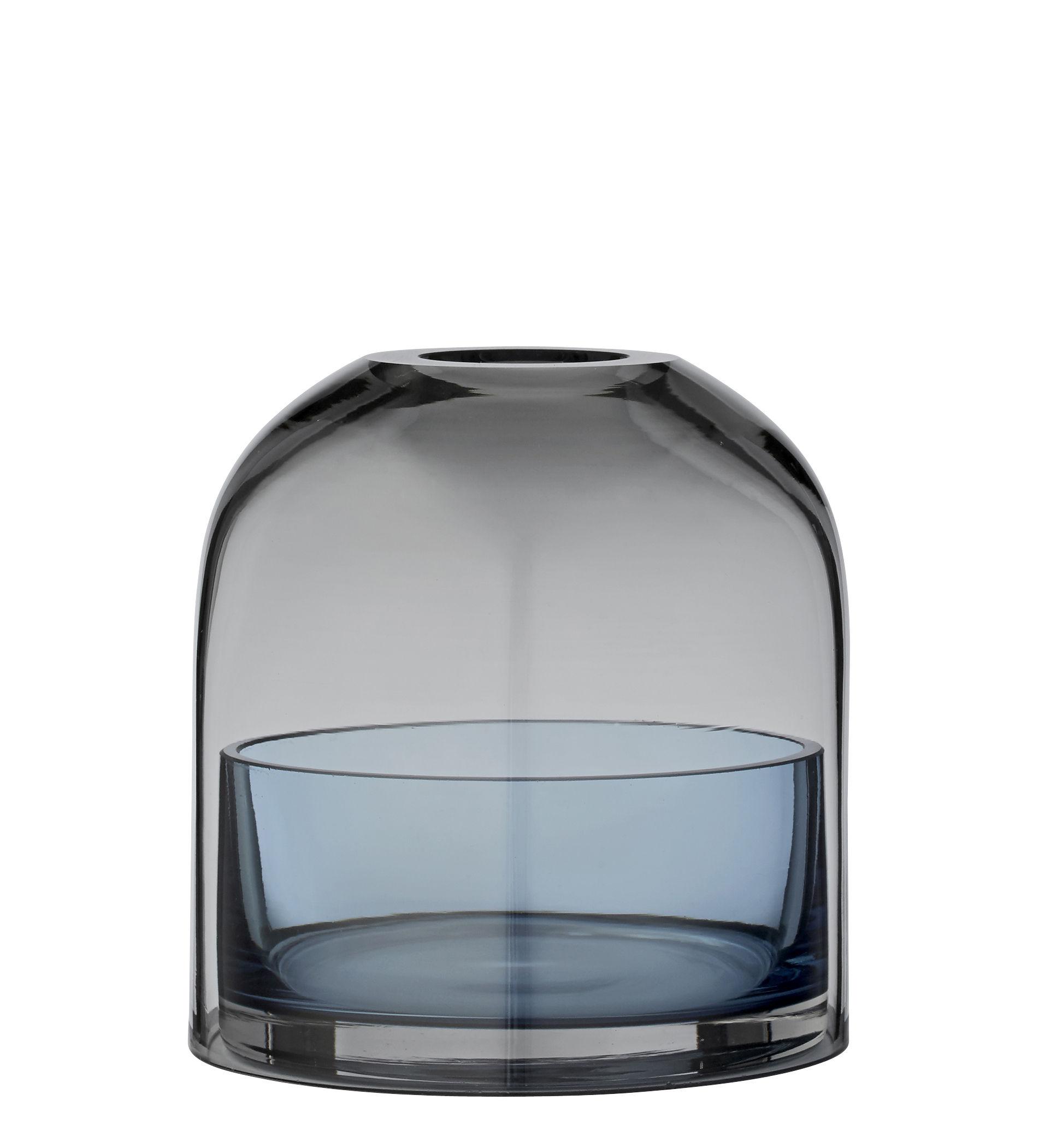 Interni - Candele, Portacandele, Lampade - Portacandela Tota Small - / Vetro - H 10 cm di AYTM - Grigio fumé / Coppetta blu - Vetro