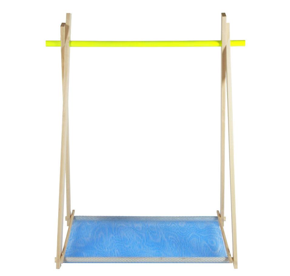 Mobilier - Meubles de rangement - Portant LeKit Small / L 100 x H 134 cm - FAB design - Hêtre & jaune / Filet bleu - Hêtre massif