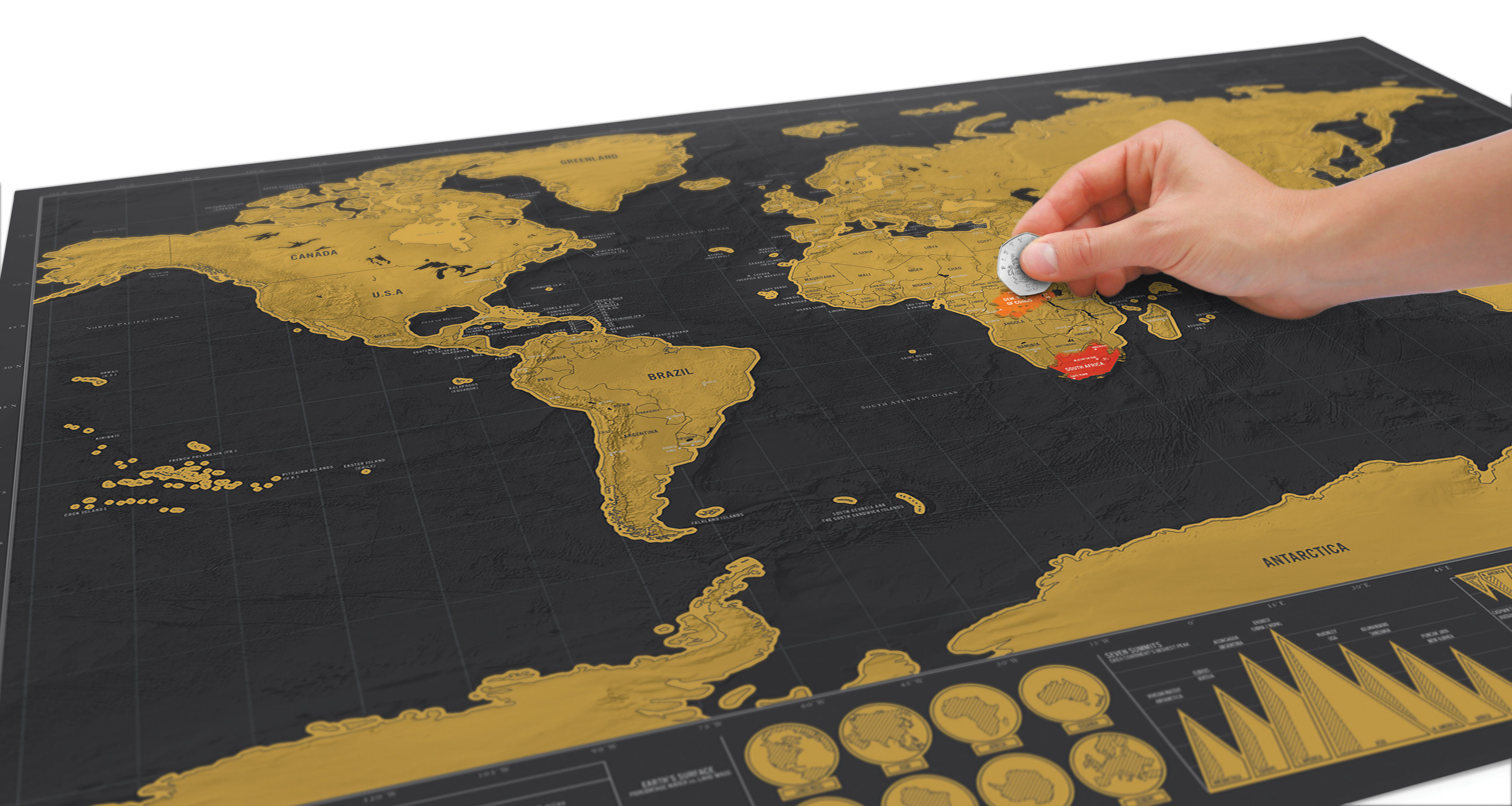 Gold World Map Poster.Scratch Map Deluxe Poster World Map To Scratch And Accessories