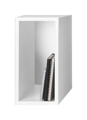 Möbel - Regale und Bücherregale - Stacked Regal rechteckiges Modul Größe S mit Rückwand - Muuto - L 43,6 cm x B 21,8 cm - weiß - mitteldichte bemalte Holzfaserplatte