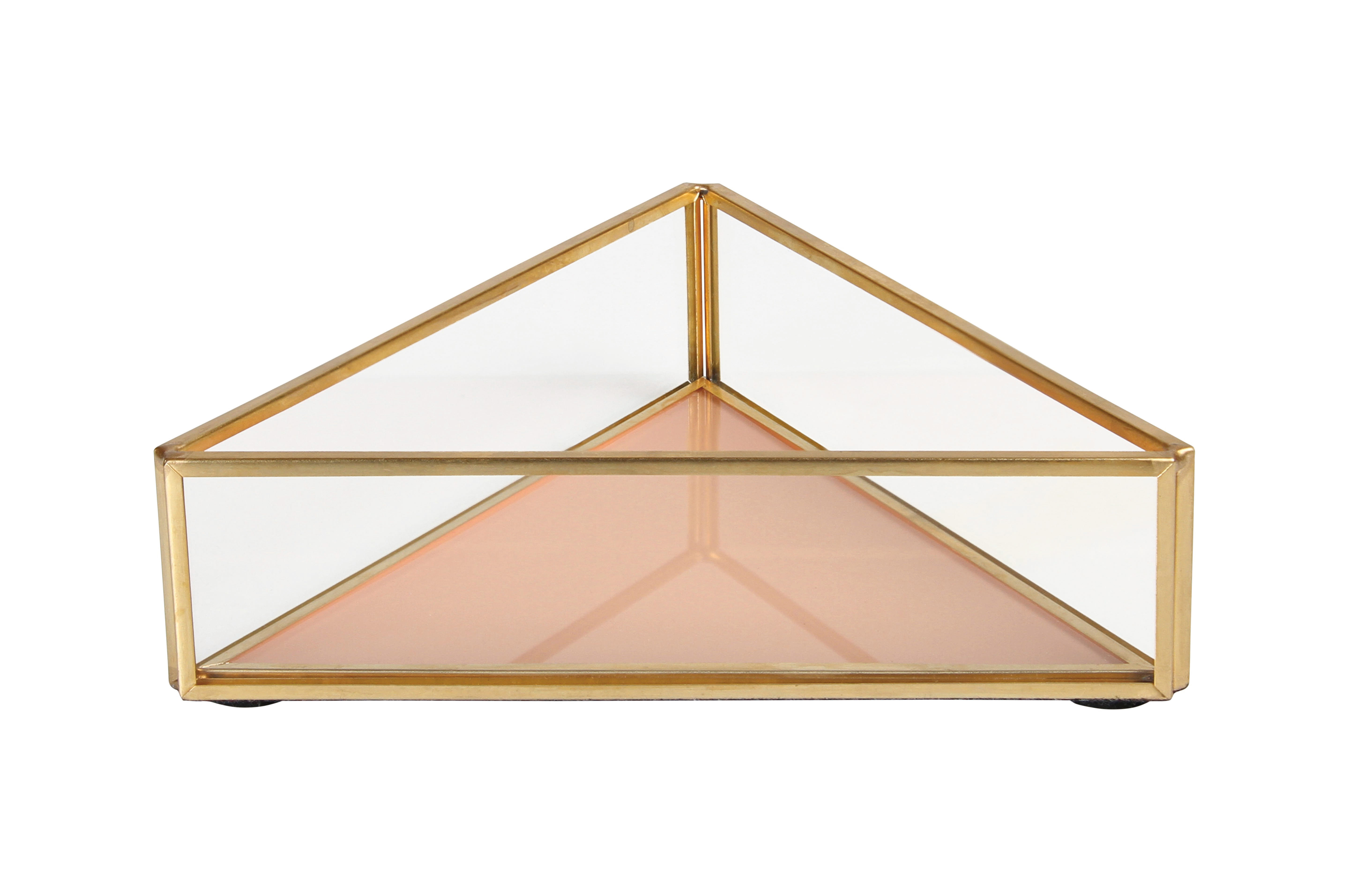 Decoration - Decorative Boxes - Small dish - / 16 x 14 cm - Glass & metal by & klevering - Triangle / Peach - Brass finish metal, Glass