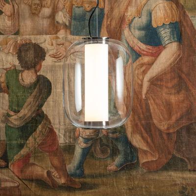 Illuminazione - Lampadari - Sospensione Meridiano Media - / LED - H 41cm di Fontana Arte - Transparent - Metallo nichelato, Vetro pyrex, vetro soffiato