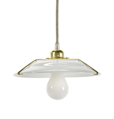 Image of Sospensione Switch - / Gres & ottone - Ø 23 cm di Serax - Abat-jour & câble : blanc - Structure : laiton - Ceramica