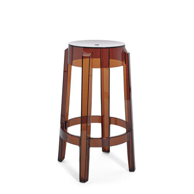 Furniture - Bar Stools - Charles Ghost Stackable bar stool - / H 65 cm - Polycarbonate by Kartell - Amber - Polycarbonate
