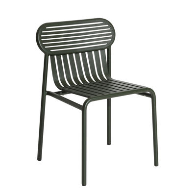 Furniture - Chairs - Week-End Stacking chair - / Aluminium by Petite Friture - Bottle green - Powder coated epoxy aluminium