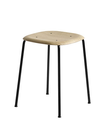 Furniture - Stools - Soft Edge 70 Stool - H 47 cm / Wood & metal by Hay - Oak / Black leg - Lacquered steel, Varnished oak plywood