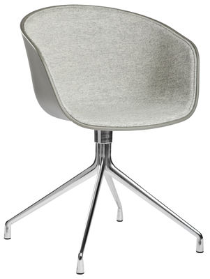 Furniture - Armchairs - About a chair Swivel armchair by Hay - Light grey fabric - Fabric, Polished aluminium, Polypropylene