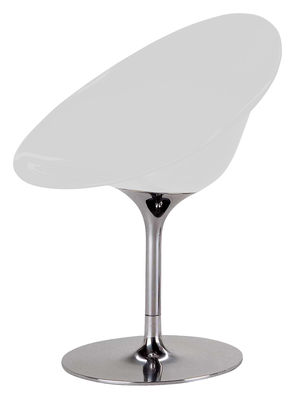 Furniture - Chairs - Ero/S/ Swivel armchair - Polycarbonate by Kartell - Opaque white - Chromed steel, Polycarbonate