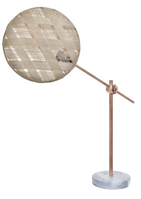 Lighting - Table Lamps - Chanpen Diamant Table lamp - High / Ø 36 cm - Diamond patterns by Forestier - Natural / Base copper - Marble, Metal, Woven acaba