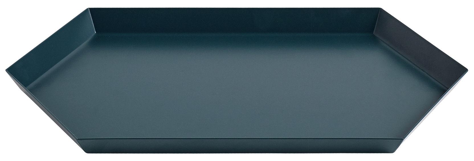 Tischkultur - Tabletts - Kaleido Medium Tablett / 33,5 x 19,5 cm - Hay - Dunkelgrün - bemalter Stahl