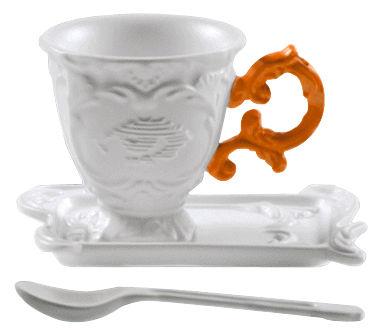 Tavola - Tazze e Boccali - Tazzina da caffè I-Coffee - / Set tazze + sottopiattino + cucchiaino di Seletti - Arancione - Porcellana
