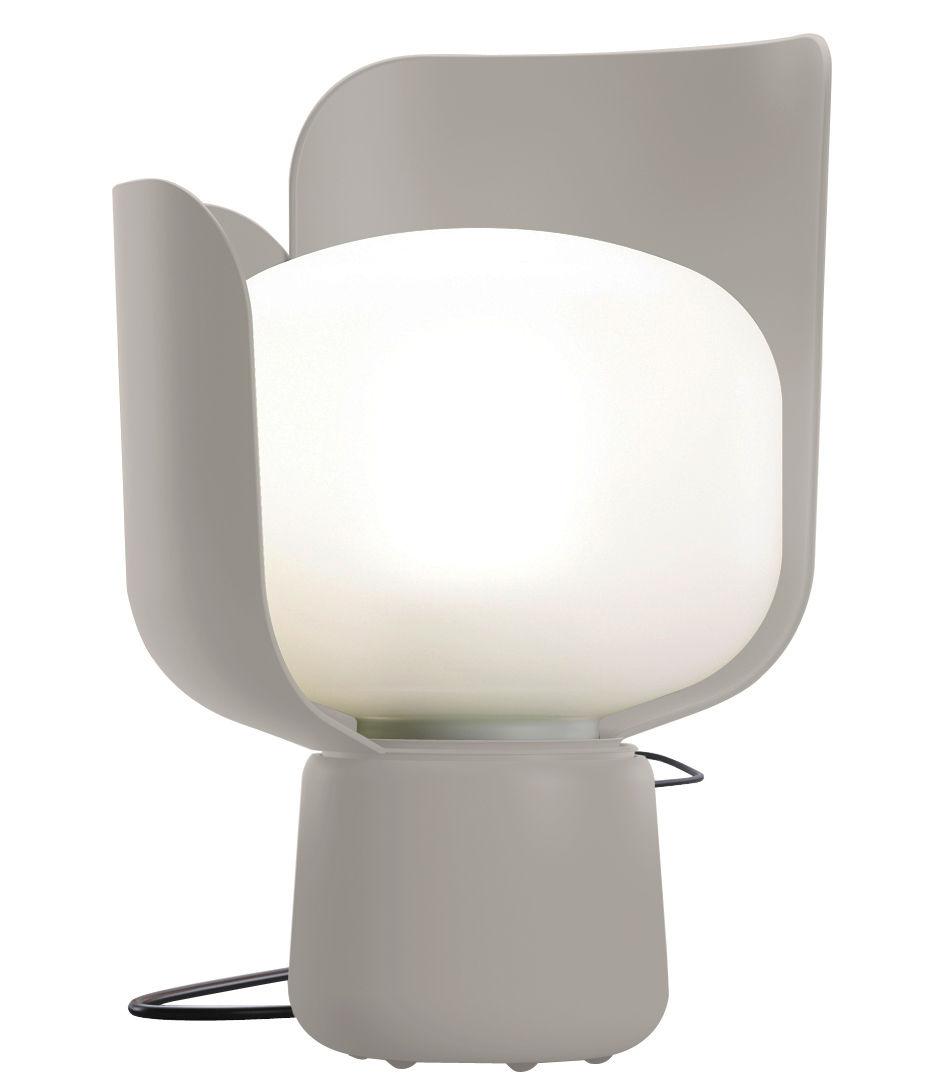 Leuchten - Tischleuchten - Blom Tischleuchte - H 24 cm - Fontana Arte - Grau - Aluminium, Polyäthylen, Polykarbonat