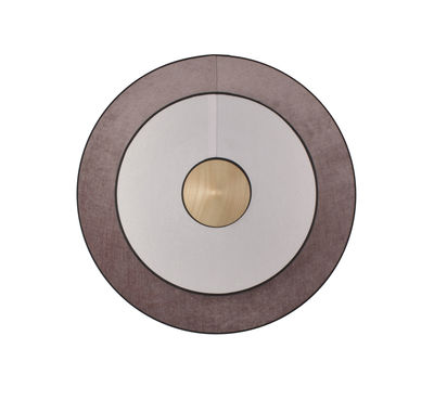 Lighting - Wall Lights - Cymbal LED Wall light - / Medium - Ø 50 cm - Fabric by Forestier - Powder pink - Oak, Velvet, Woven cotton