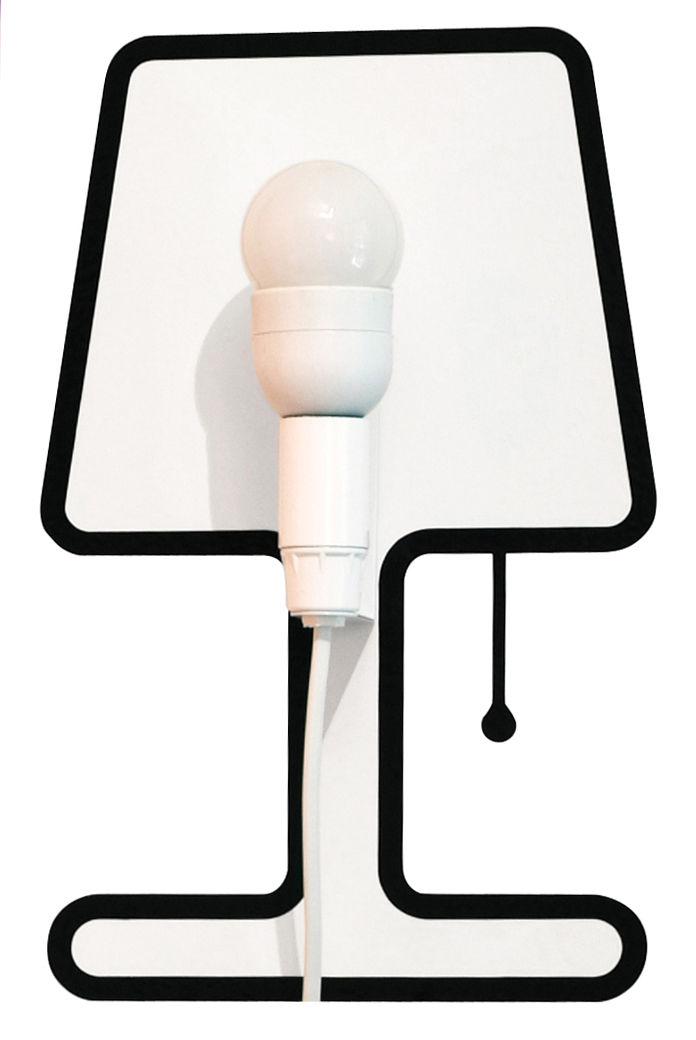 Decoration - Funny & surprising - Tiny Lampe Wall light with plug - Set sticker + electric kit by Pa Design - Black - Plastic, Vinyl