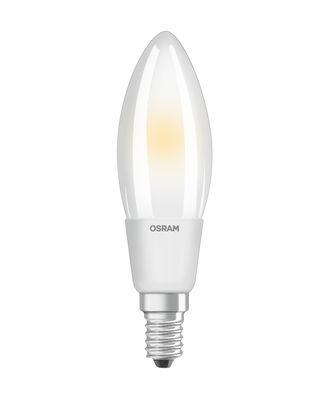 Ampoule LED E14 dimmable / Flamme dépolie - 5W=40W (2700K, blanc chaud) - Osram blanc en verre