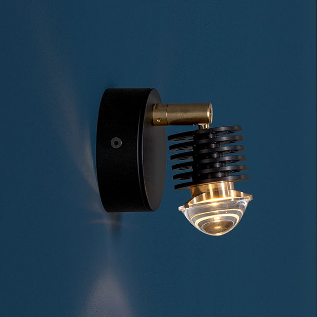 Éco Design - Artisanat - Applique EC 301 / LED - Articulé - Catellani & Smith - Noir & laiton - Acier verni, Laiton, Verre