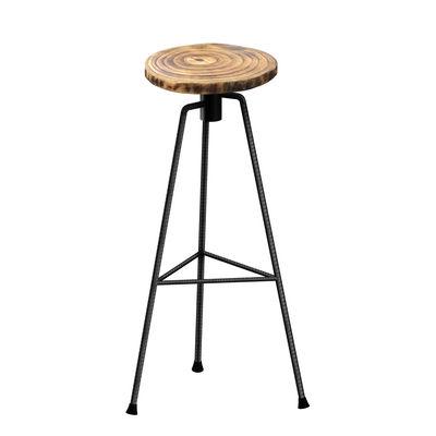 Möbel - Barhocker - Nikita Barhocker / H 82 cm - Holz und Metall - Zeus - Roher Metallfuß / Holz - Massivholz, Stahl