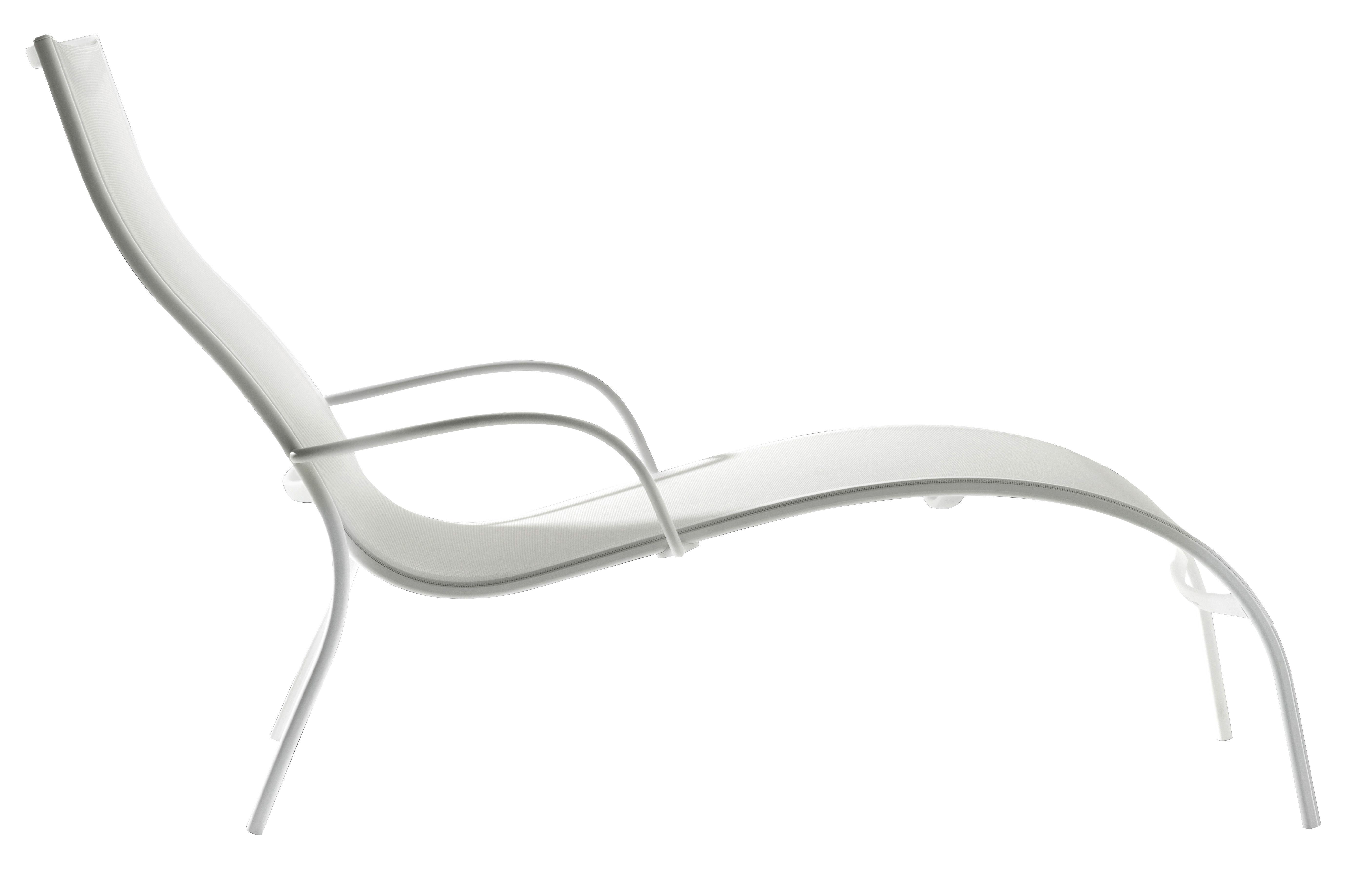 Outdoor - Chaises longues et hamacs - Chaise longue Paso Doble - Magis - Blanc / structure blanche - Aluminium verni, Toile