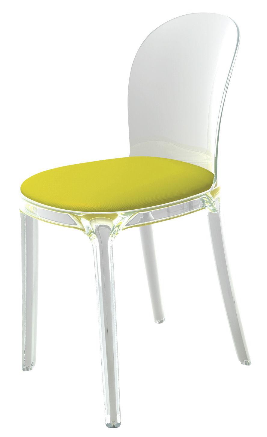 Mobilier - Chaises, fauteuils de salle à manger - Chaise rembourrée Vanity Chair / Polycarbonate transparent & tissu - Magis - Cristal / Coussin jaune - Polycarbonate, Tissu